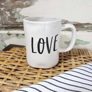 Love Mug By A Perfect Table White W/Black Letters